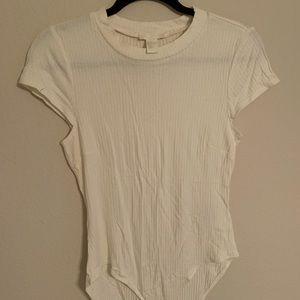 White Ribbed Bodysuit H&M